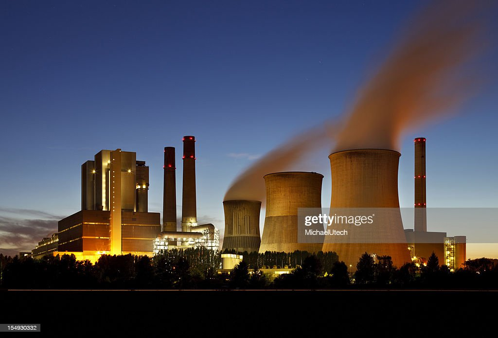 Lignite Power Station At Night : Stock Photo