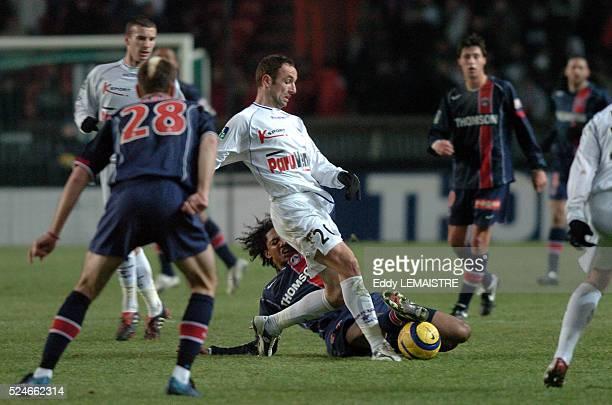 Ligue 1 Soccer Championship, season 2004-2005: Paris Saint Germain vs Istres. Charles-Edouard Coridon and Franck Chaussidiere .