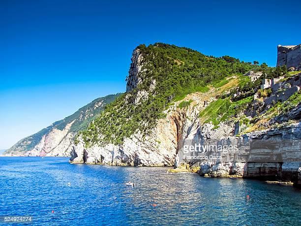 Ligurian sea coastline in Porto Venere village, Italy