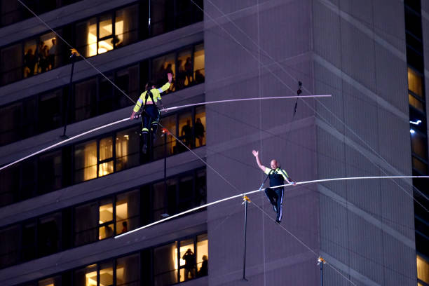 NY: Highwire Live In Times Square With Nik Wallenda