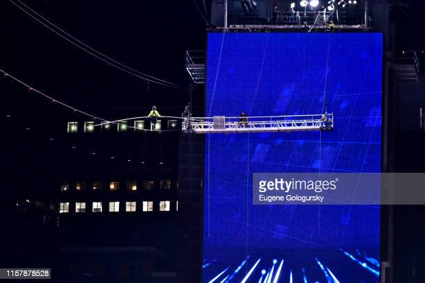 Lijana Wallenda finishes her high wire walk over Times Square during the Highwire Live In Times Square With Nik Wallenda on June 23 2019 in New York...