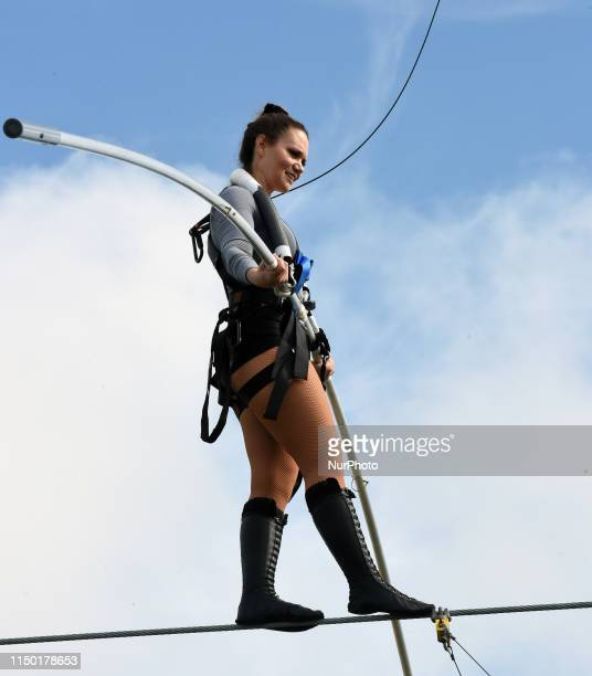 Lijana Wallenda practices on the high wire at Nathan Benderson Park on June 15 2019 in Sarasota Florida This is the final public practice by Lijana...