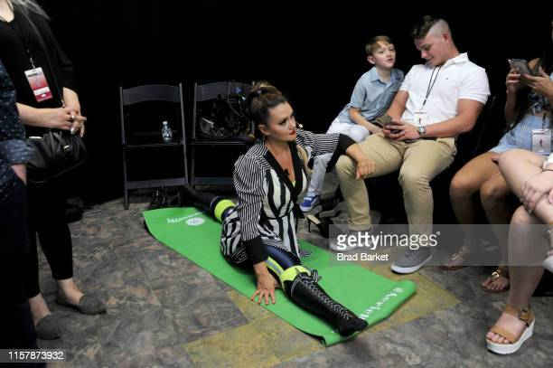 Lijana Wallenda prepares backstage before Highwire Live In Times Square With Nik Wallenda on June 23 2019 in New York City