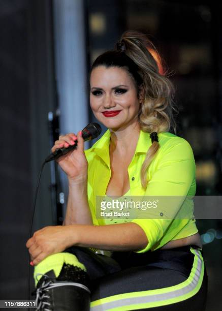 Lijana Wallenda speaks at a press conference during the Highwire Live In Times Square With Nik Wallenda on June 23 2019 in New York City