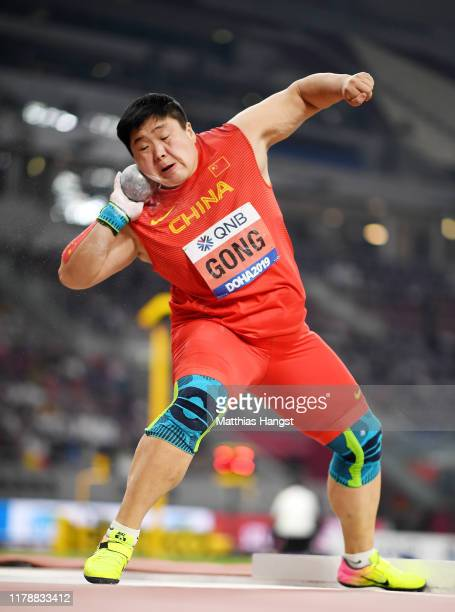 Lijiao Gong of China competes in the Women's Shot Put final during day seven of 17th IAAF World Athletics Championships Doha 2019 at Khalifa...