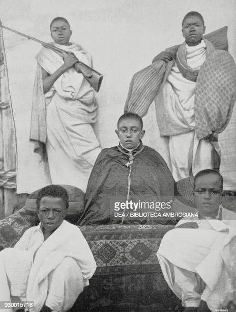 Lijj Ejass presumpt heir to the throne of Abyssinia at the school of Temkie at Ankober Ethiopia photo by S Bertolani from L'Illustrazione Italiana...