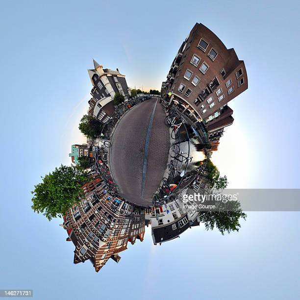 lijnbaansgracht canal, amsterdam, little planet effect - digital distortion stock photos and pictures