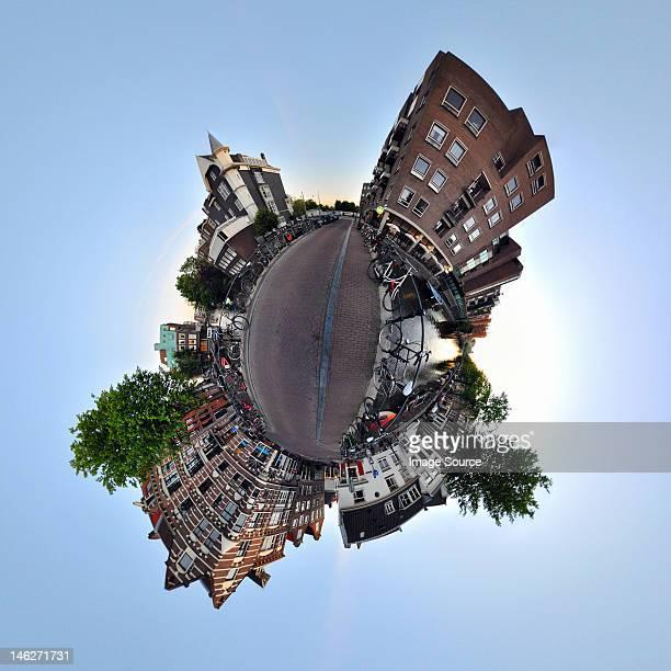 lijnbaansgracht canal, amsterdam, little planet effect - fish eye foto e immagini stock