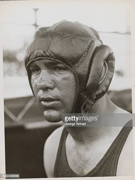 Like a Bronze BustGerman Heavyweight Hope Uses Vaseline Mask During Training for Sharkey Title Bout Endicott New York A good closeup of Max Schmeling...