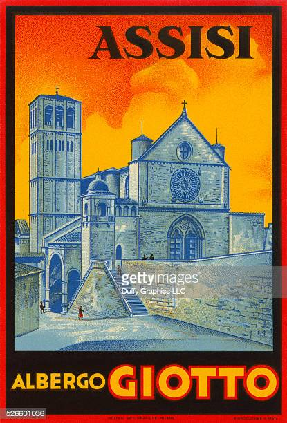 Like a mini vintage travel poster used to advertise a hotel and identify luggage or steamer trunks showing the famous Basilica of San Francesco...