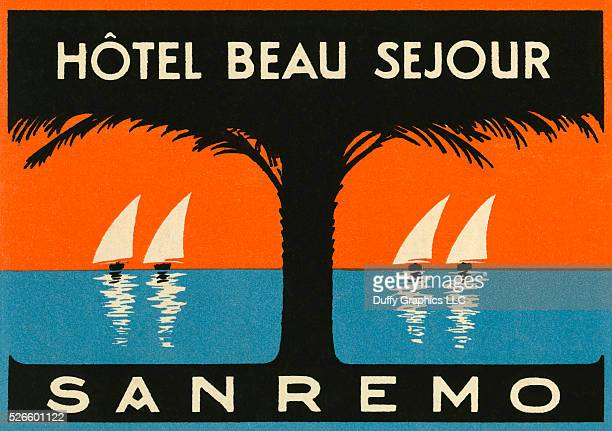 Like a mini vintage travel poster used to advertise a hotel and identify luggage or steamer trunks destined for San Remo on the Italian Riviera