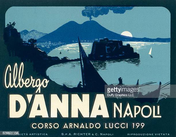 Like a mini vintage travel poster used to advertise a hotel and identify luggage or steamer trunks with the Bay of Naples and Mount Vesuvius in the...