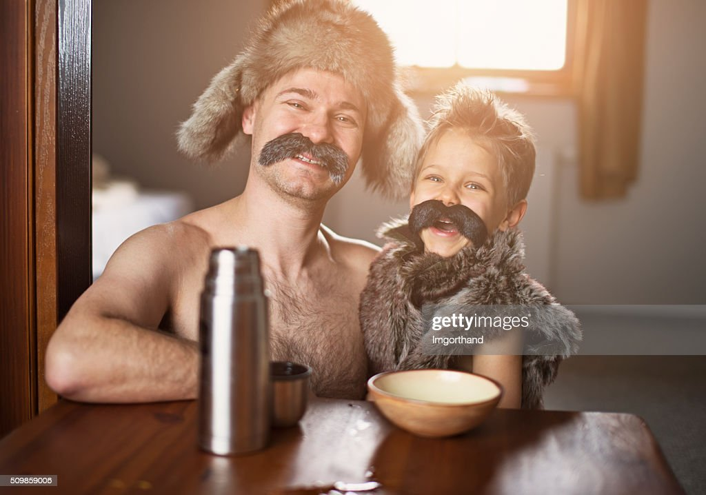 Like father like son - portrait with big moustaches : Stock Photo
