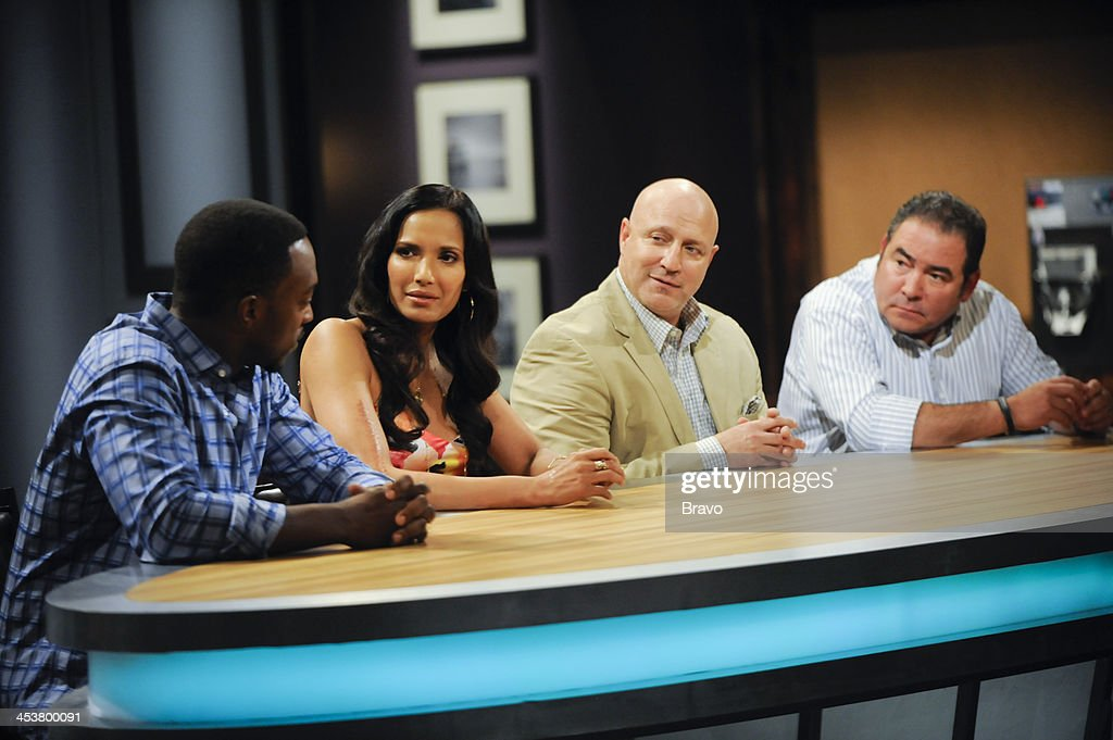TOP CHEF -- 'Like Mama Made' Episode 1110 -- Pictured: (l-r) Judges Anthony Mackie, Padma Lakshmi, Tom Colicchio, Emeril Lagasse --