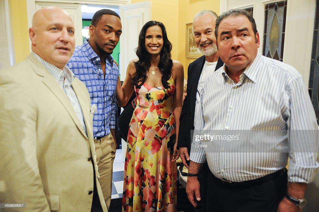 TOP CHEF -- 'Like Mama Made' Episode 1110 -- Pictured: (l-r) Judges Tom Colicchio, Anthony Mackie, Padma Lakshmi, Hubert Keller, Emeril Lagasse --