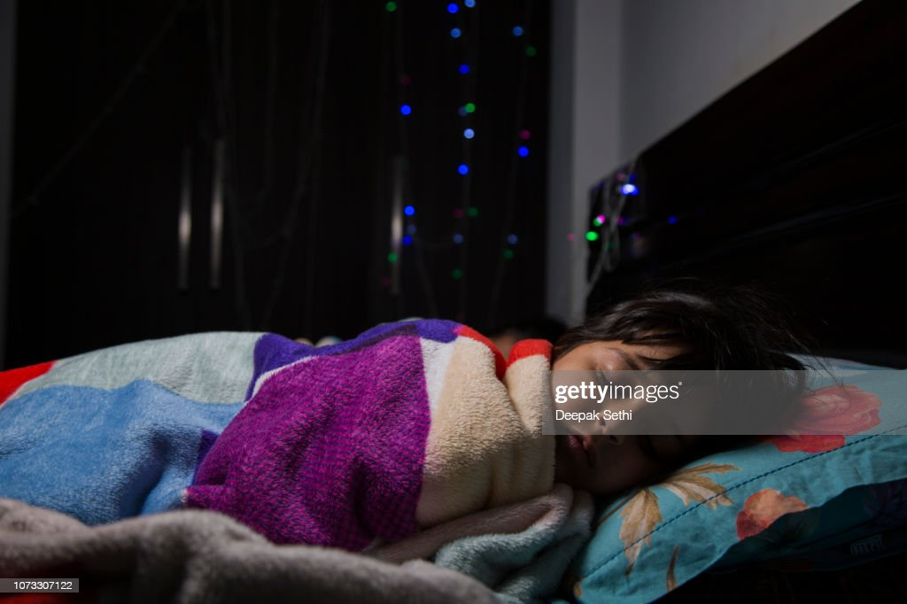 I like mom's bed the best - Stock image : Stock Photo