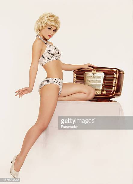 i like music. - pin up girl stock pictures, royalty-free photos & images