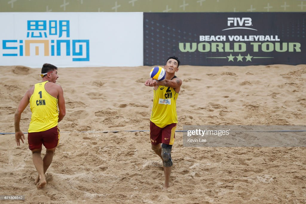 Likejiang Ha(L) and Jian Bao of China in action at the FIVB Beach Volleyball World Tour Xiamen Open 2017 on April 21, 2017 in Xiamen, China.