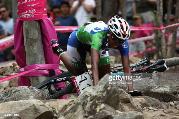 Likeleli Masitise of Lesotho crashes during the Women's Crosscountry on day eight of the Gold Coast 2018 Commonwealth Games at Nerang Mountain Bike...