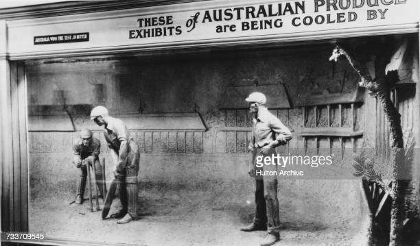 A likeness of English cricketer Jack Hobbs sculpted in butter to advertise Australian butter and refrigeration equipment at the Australian pavilion...
