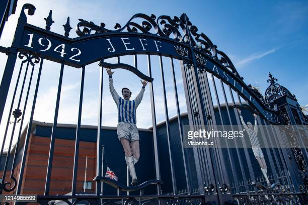 A likeness of former WBA centre forward Jeff Astle on gates bearing his name at the Birmingham Road End of the Hawthorns home of West Bromwich Albion...