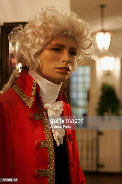 A likeness of Wolfgang Amadeus Mozart is seen during the opening of Mozart week at music virtuoso's family residence January 27 2006 in Salzburg...
