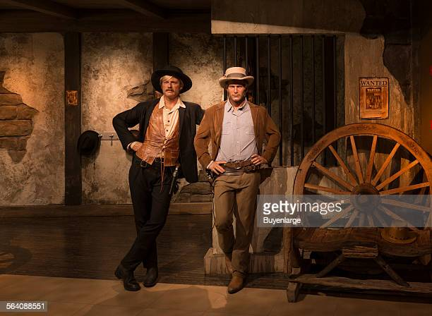 Likenesses of Paul Newman and Robert Redford in their roles as Butch Cassidy and the Sundance Kid in the movie of the same name at Madame Tussaud Wax...
