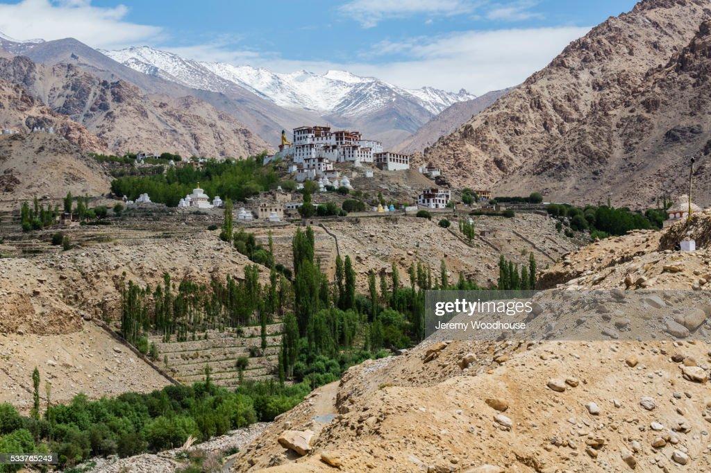 Likir Monastery in remote mountain valley, Likir, Ladakh, India : Foto stock