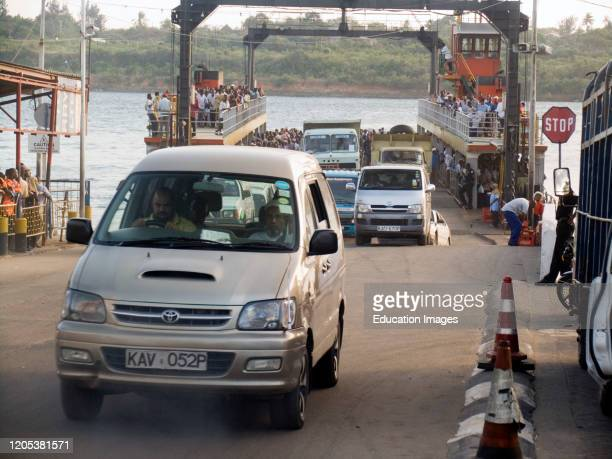 Likoni Ferry for road traffic and pedestrians across Kilindini Harbor Mombasa Kenya.