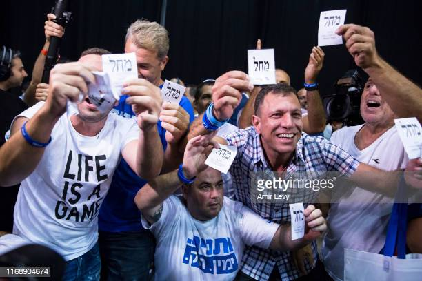 Likud Party supporters celbrate at the Likud Party after vote event on September 17 2019 in Tel Aviv Israel All TV exit polls see no clear winner in...