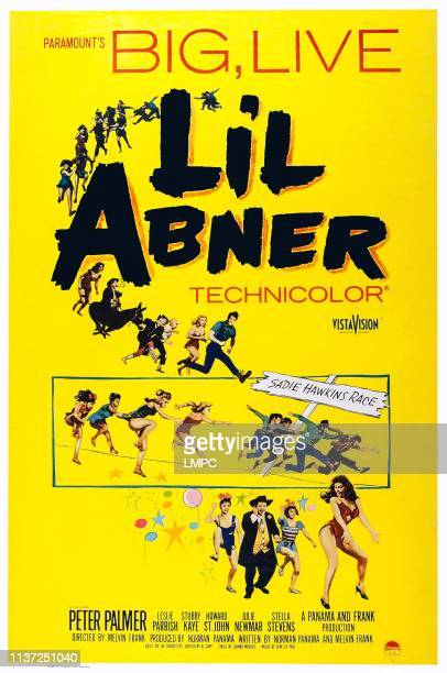 Li'l Abner, poster, , top l-r: Stubby Kaye, Billie Hayes, Leslie Parrish, Peter Palmer, bottom l-r: Stubby Kaye, Julie Newmar on poster art, 1959.