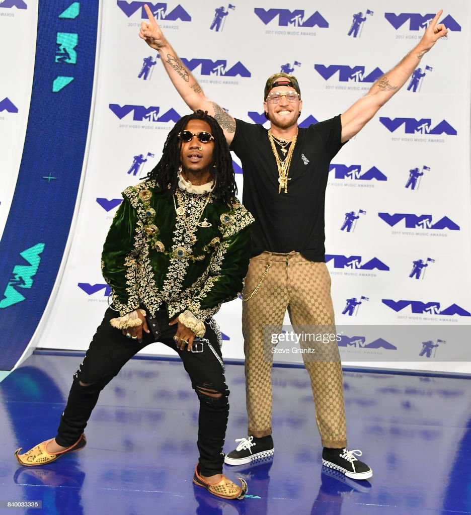 Lil B and guest attend the 2017 MTV Video Music Awards at