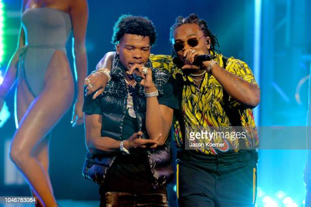 Lil Baby and Gunna perform onstage during the BET Hip Hop Awards 2018 at Fillmore Miami Beach on October 6 2018 in Miami Beach Florida