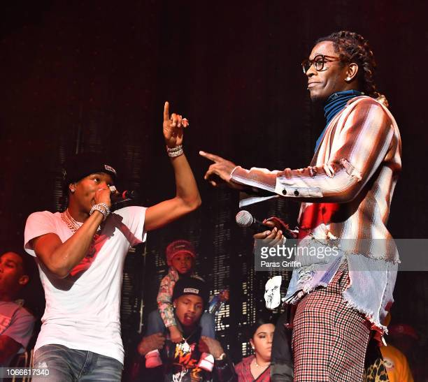 Lil Baby and Young Thug perform onstage during Lil Baby Friends concert to promote the new release of Lil Baby's new album Street Gossip at CocaCola...