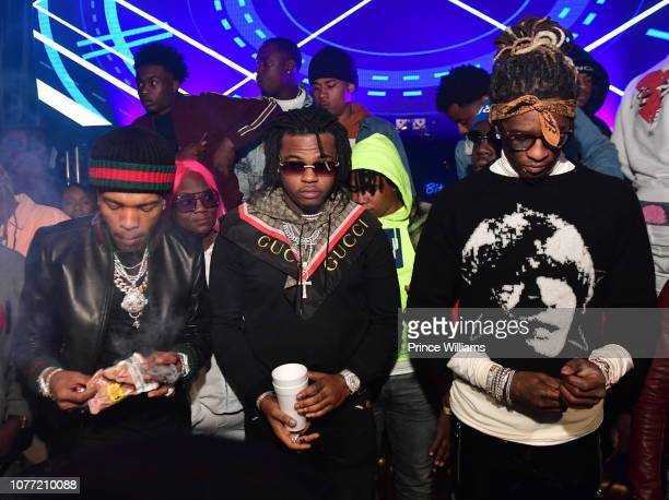 Lil Baby Gunna and Young Thug attend Lil Baby Birthday Bash at Ravine on November 4 2018 in Atlanta Georgia