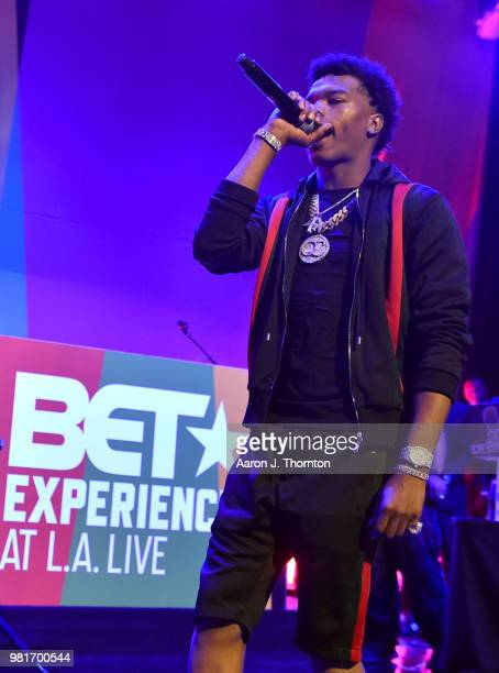 Lil Baby performs at the BETX Main Stage sponsored by Credit Karma at 2018 BET Experience Fan Fest at Los Angeles Convention Center on June 22 2018...