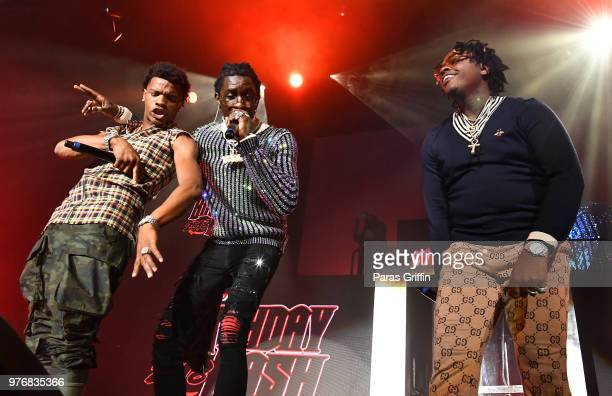 Lil Baby Young Thug and Gunna perform on stage during Hot 1079 Birthday Bash at Cellairis Amphitheatre at Lakewood on June 16 2018 in Atlanta Georgia