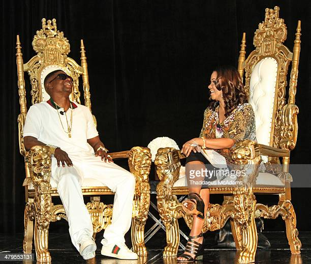 Lil Boosie and Angela Yee The LIL Boosie press conference at W Hotel New Orleans on March 10 2014 in New Orleans Louisiana
