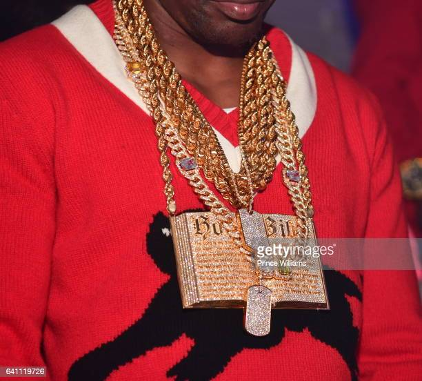 Lil Boosie Necklace Detail attend a Super bowl Party at The Engine Room Nightclub on February 4 2017 in Houston Texas
