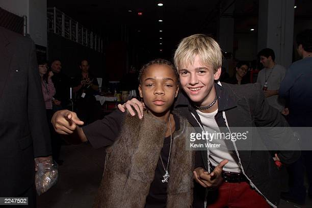 Lil' Bow Wow and Aaron Carter outside of the MGM Grand in Las Vegas after the 2000 Billboard Music Awards December 5 2000