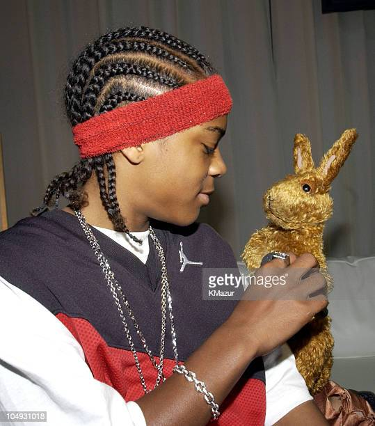 Lil' Bow Wow and Greg the Bunny during 2002 MTV Movie Awards Backstage and Audience at The Shrine Auditorium in Los Angeles California United States