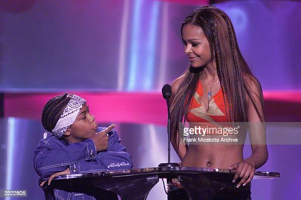 Lil' Bow Wow and Samantha Mumba chat before presenting the Song of the Year Top 40/Pop Radio at the 2000 Radio Music Awards at the Aladdin Hotel in...