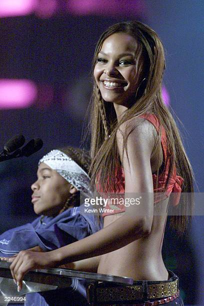 Lil' Bow Wow and Samantha Mumba present the Song of the Year Award live at the 2000 Radio Music Awards at the Aladdin Hotel in Las Vegas 11/04/00