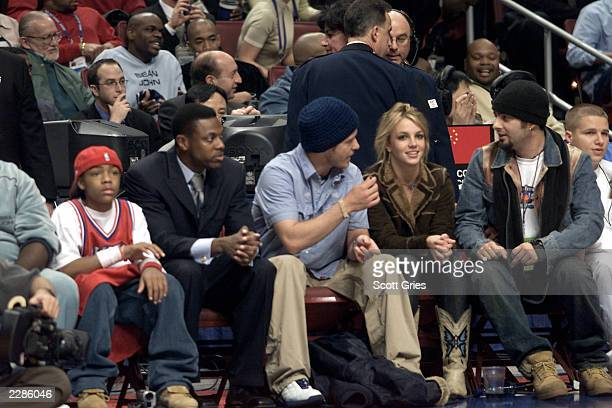 Lil' Bow Wow Chris Tucker Justin Timberlake Britney Spears and Chris Kirkpatrick at the NBA AllStar Game at the First Union Center in Philadelphia Pa...