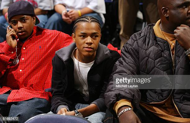 Lil' Bow Wow watches the Washington Wizards in a game against the Miami Heat on November 6 2004 at the MCI Center in Washington DC NOTE TO USER User...