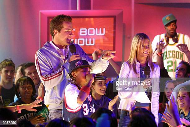 Lil' Bow Wow with Tara Reid and Ryan Reynolds during a special week of celebrity hosts on TRL at the MTV Studios in New York City 4/4/02 Photo by...
