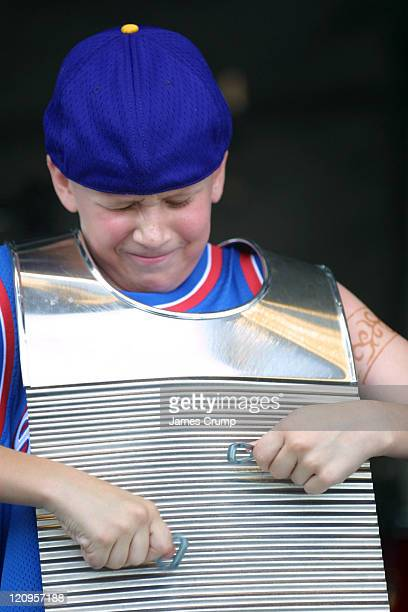Lil' Brian & the Zydeco Travelers perform at the opening day of the 35th Anniverary of the New Orleans Jazz & Heritage Festival at the New Orleans...