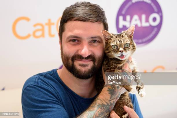 Lil Bub and Mike Bridavsky attend CatCon in Pasadena California on August 13 2017 The twoday event includes meet and greets with celebrities and...