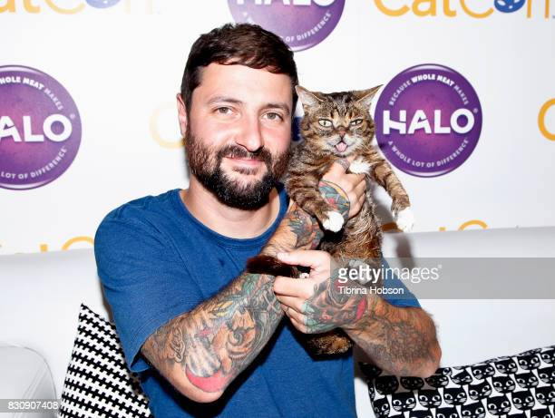 Lil Bub and Mike Bridavsky attend the 3rd Annual CatCon at Pasadena Convention Center on August 12 2017 in Pasadena California