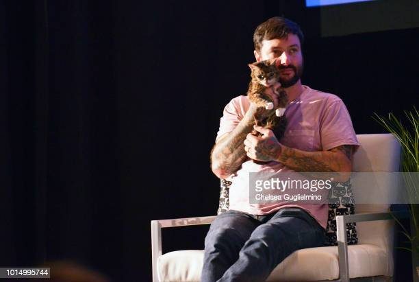 Lil Bub and Mike Bridavsky onstage during a panel at CatCon Worldwide 2018 at Pasadena Convention Center on August 5 2018 in Pasadena California